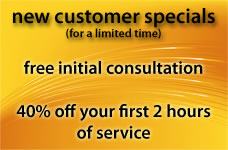 introductory offers on network consulting, computer repair, web design and managed network services for new customers